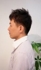 縮毛矯正リペア3ヵ月後のイメチェン刈上げショートメンズ・正面